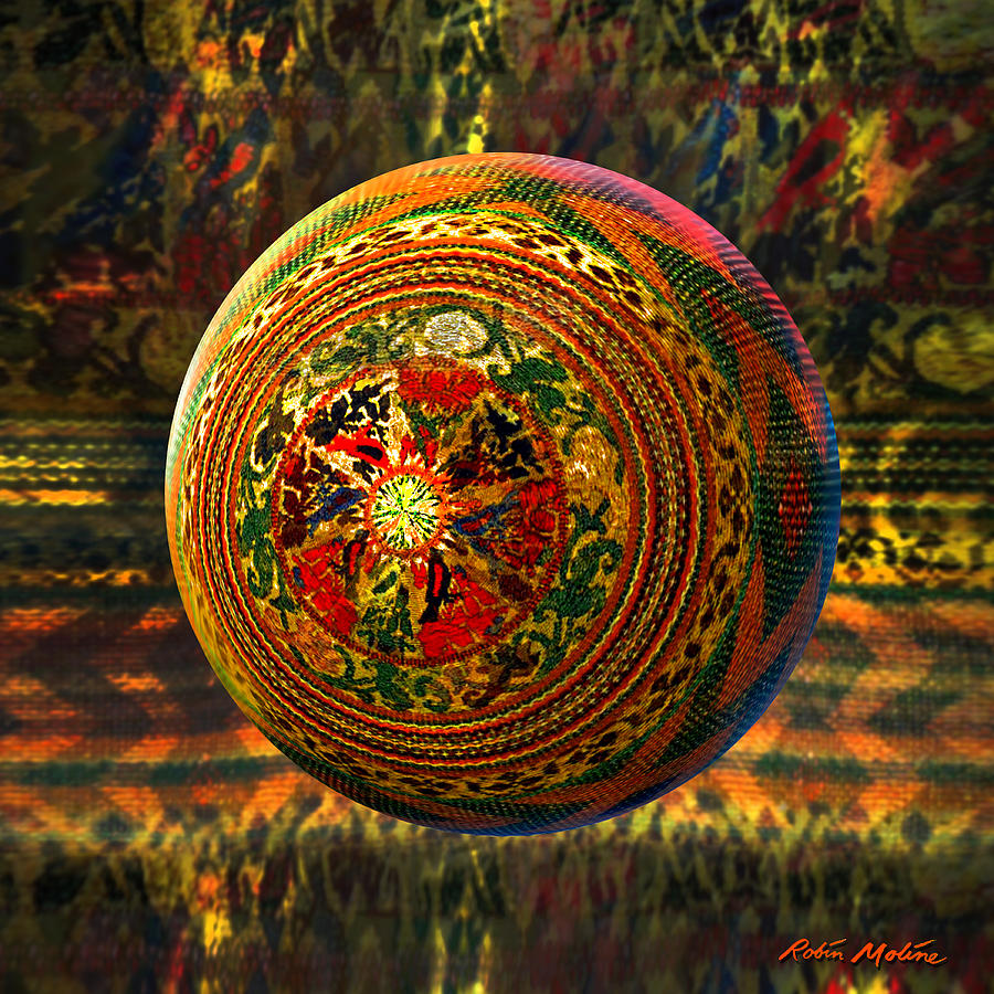 Crochet Painting - Croquet Crochet Ball by Robin Moline