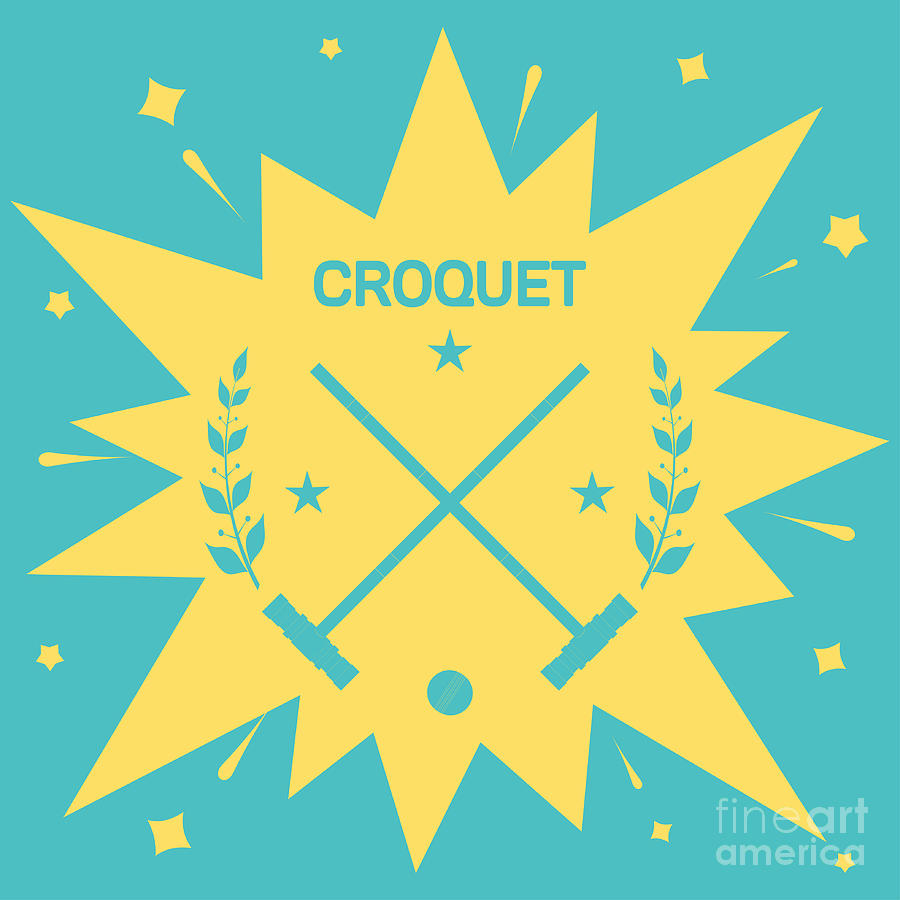 Play Digital Art - Croquet Vintage Background With Clubs by Vectorok