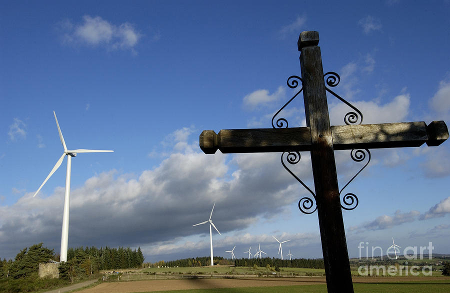 Sky Photograph - Cros And Winturbine by Bernard Jaubert