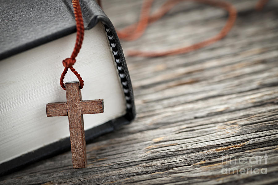 Cross Photograph - Cross And Bible by Elena Elisseeva