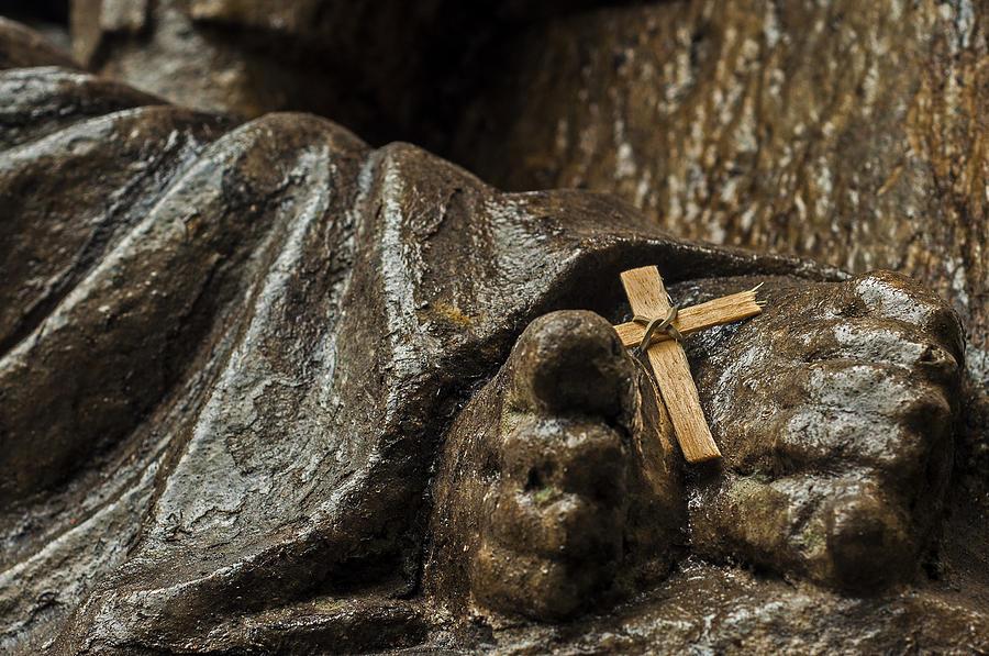 Religion Photograph - Cross And Feet by Jess Kraft