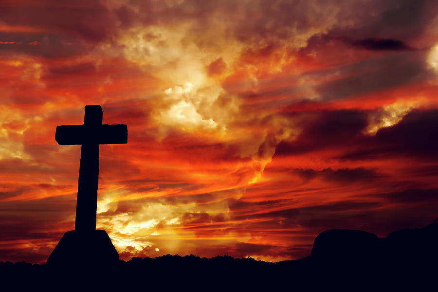 Cross And The Passion Sunset Photograph By Peter Nowell