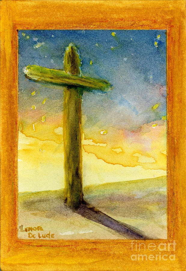 Cross At Dawn In Blue And Gold Sunrise Painting By Lenora