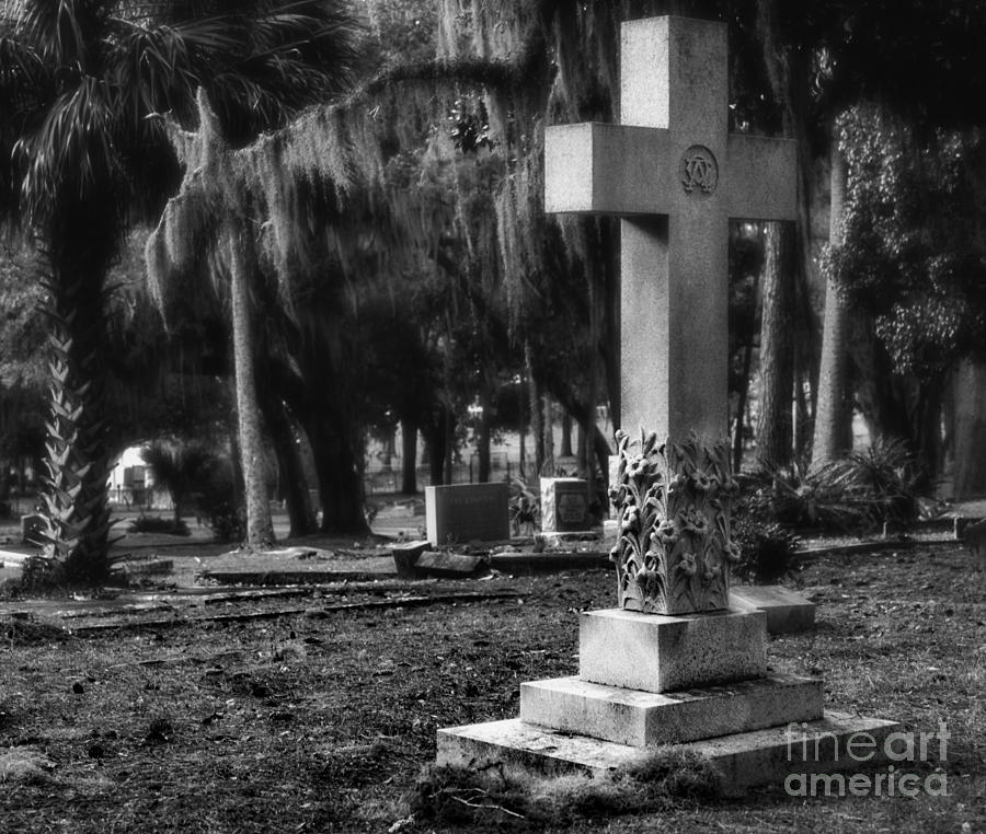 Cross Iluminates Cemetery Ground by Wayne Nielsen