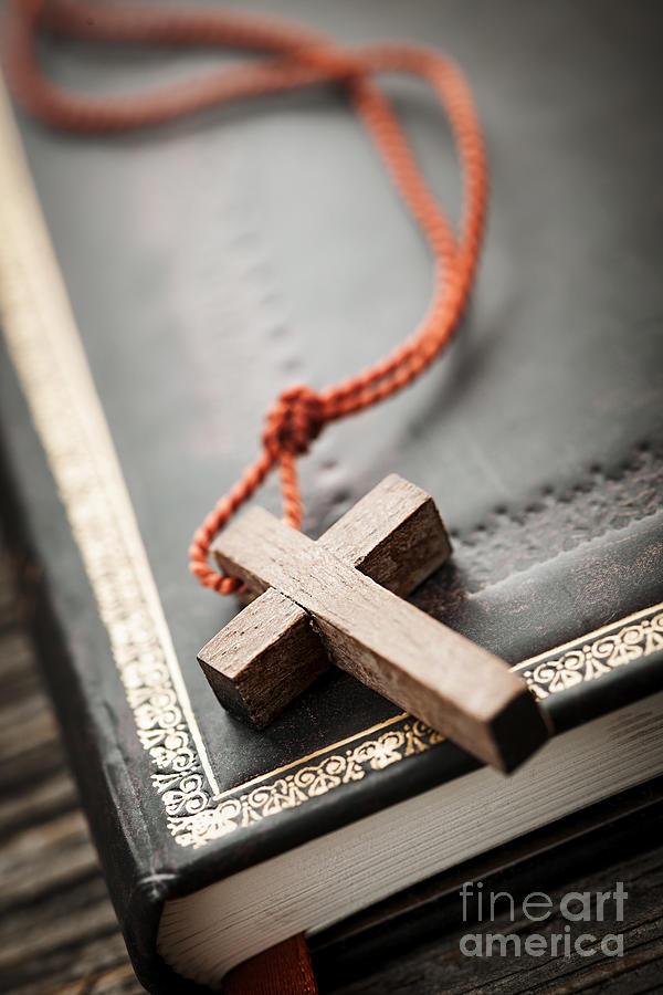 Cross Photograph - Cross On Bible by Elena Elisseeva