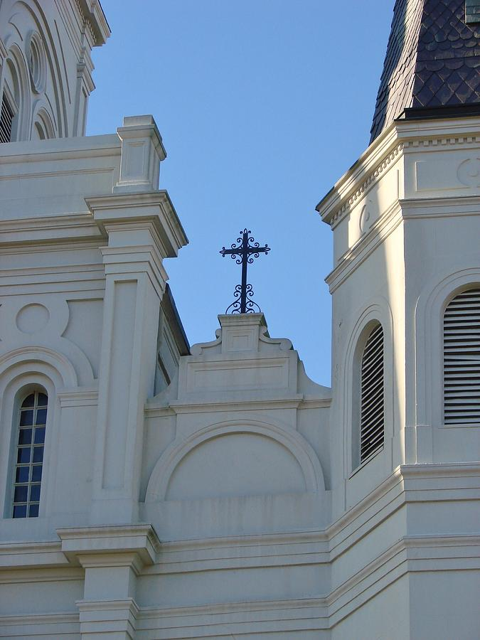 New Orleans Photograph - Cross On The Cathedral by Margaret Bobb