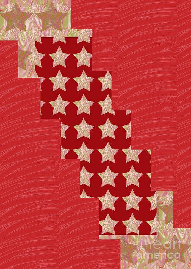 Red Painting - Cross Through Sparkle Stars On Red Silken Base by Navin Joshi