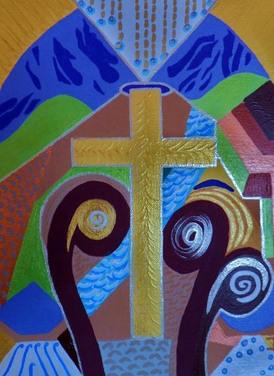 Cross With Halo Painting by Dora Wacker