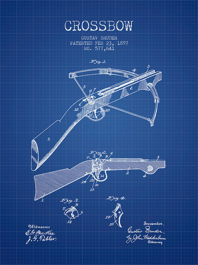 Crossbow patent from 1897 blueprint digital art by aged pixel crossbow digital art crossbow patent from 1897 blueprint by aged pixel malvernweather Image collections