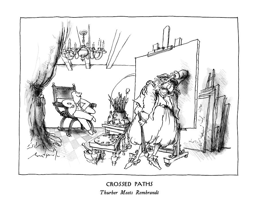 Crossed Paths Thurber Meets Rembrandt Drawing by Ronald Searle