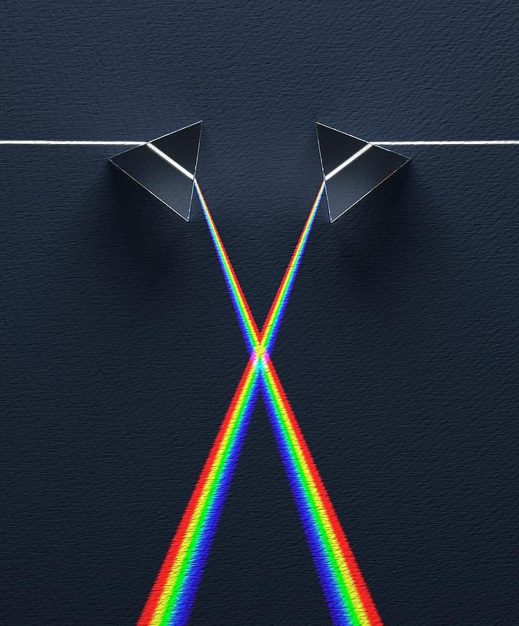 Blue Photograph - Crossed Prisms With Spectra by David Parker