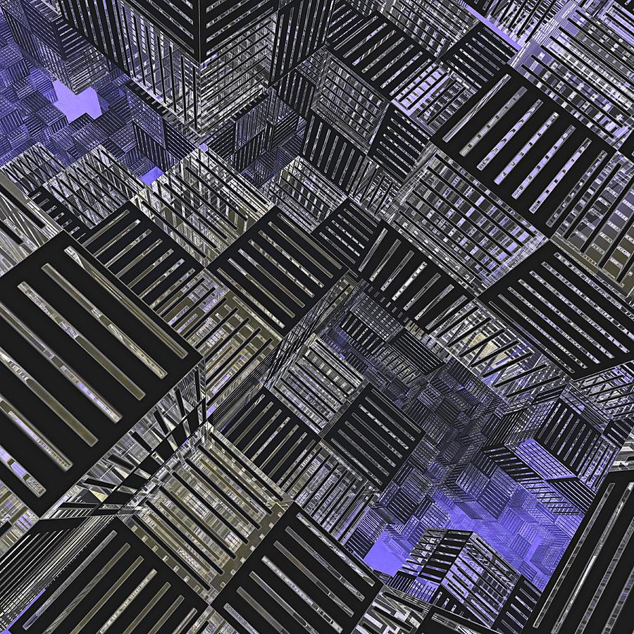 Cube Digital Art - Crosshatch by Peter J Sucy
