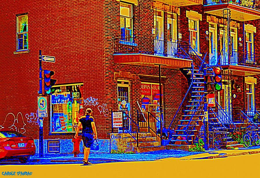 Convenience Stores Painting - Crossing Laurier Depanneur Maboule Tabagie Biere Et Vin Montreal Street Scene Art By Carole Spandau by Carole Spandau