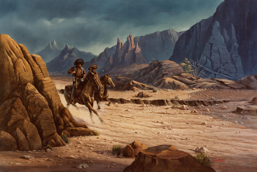 Cowboys Painting - Crossing The Border by Michael Humphries