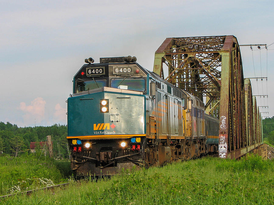 Train Photograph - Via Train Crossing The Miramichi River by Steve Boyko