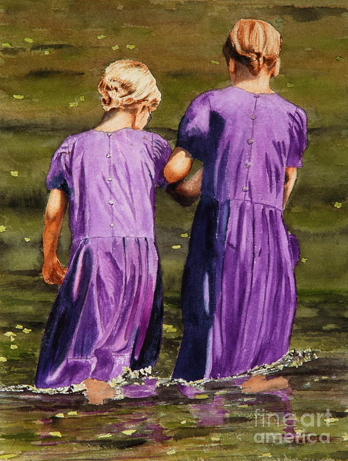 Amish Painting - Crossing The Water by John W Walker