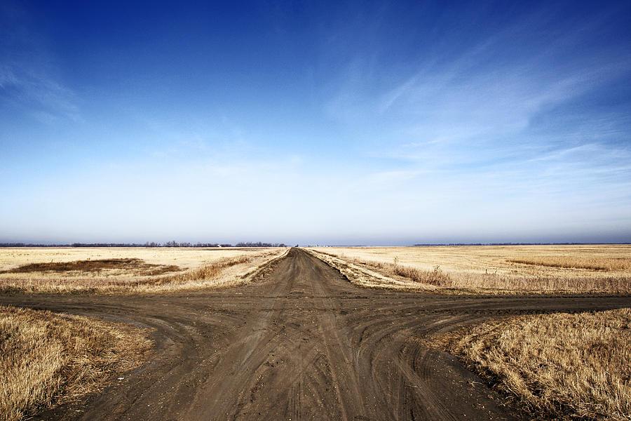 Road Photograph - Crossroads on Dirt Prairie by Donald  Erickson