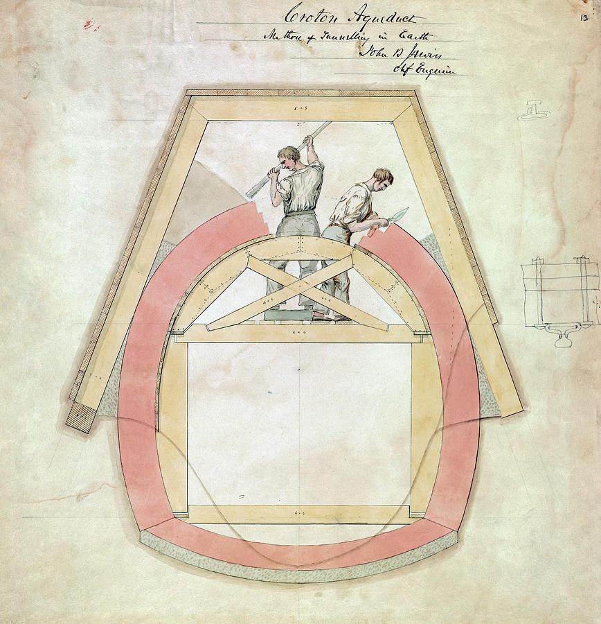 1840 Drawing - Croton Aqueduct, C1840 by Granger