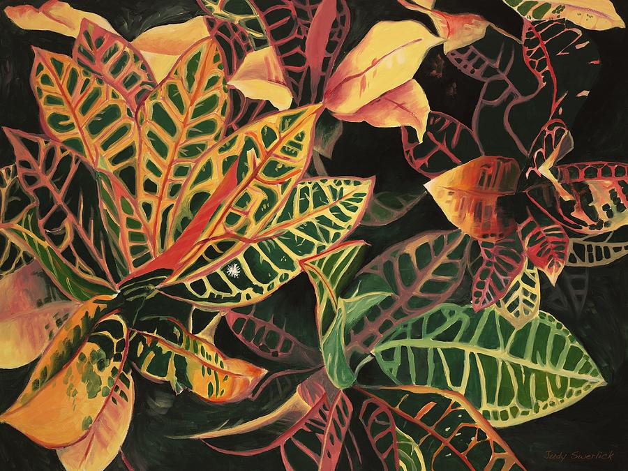 Croton Leaves Painting - Croton Leaves by Judy Swerlick
