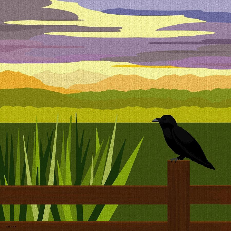 Crow Digital Art - Crow In The Corn Field by Val Arie