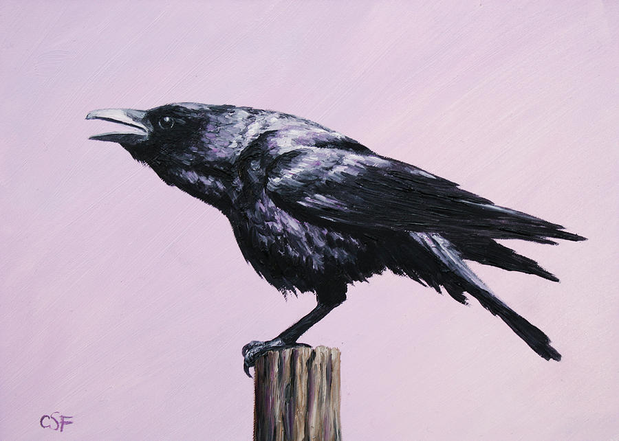 Crow Painting - Crow - Sounding Off by Crista Forest