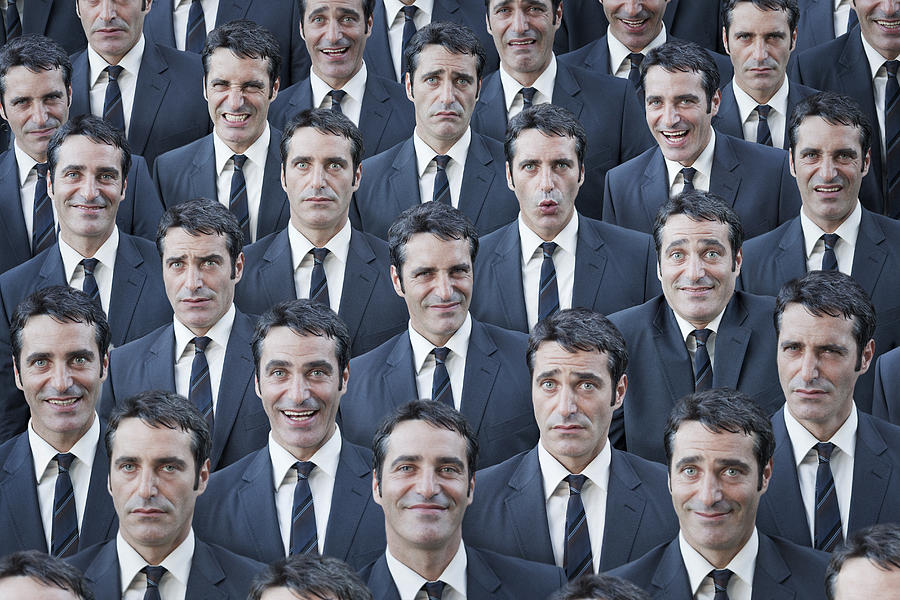 Crowd of businessmen with multiple expressions Photograph by Dimitri Otis