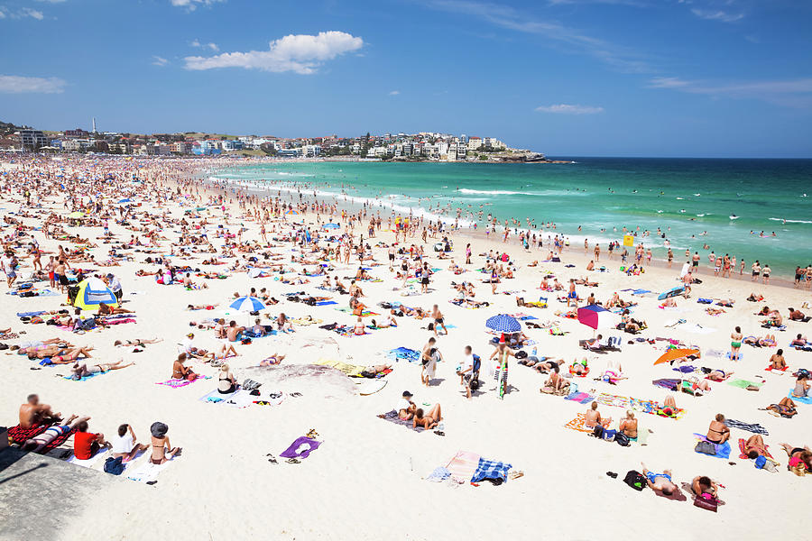 Crowded Bondi Beach, Sydney, Australia Photograph by Matteo Colombo