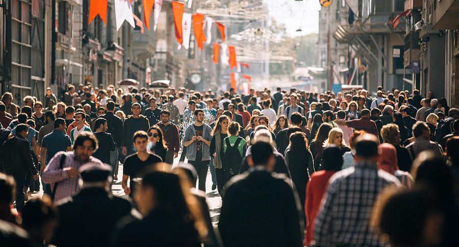 Crowded Istiklal Street In Istanbul Photograph by Filadendron