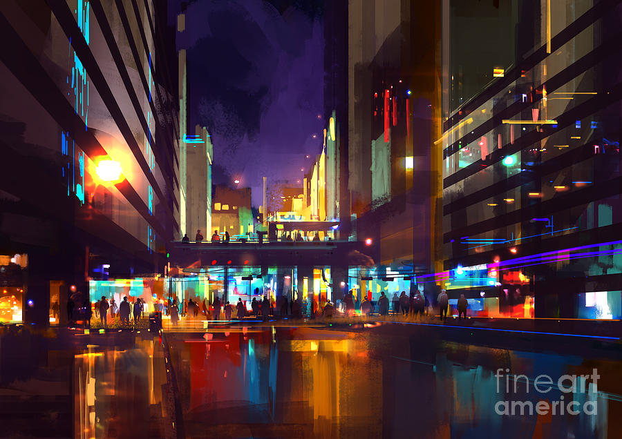 City Digital Art - Crowds Of People At A Busy Crossing In by Tithi Luadthong