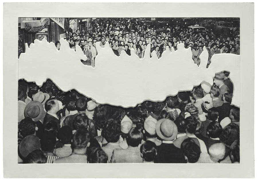 Crowds With Shape Of Reason Missing Example Two Relief by John Baldessari