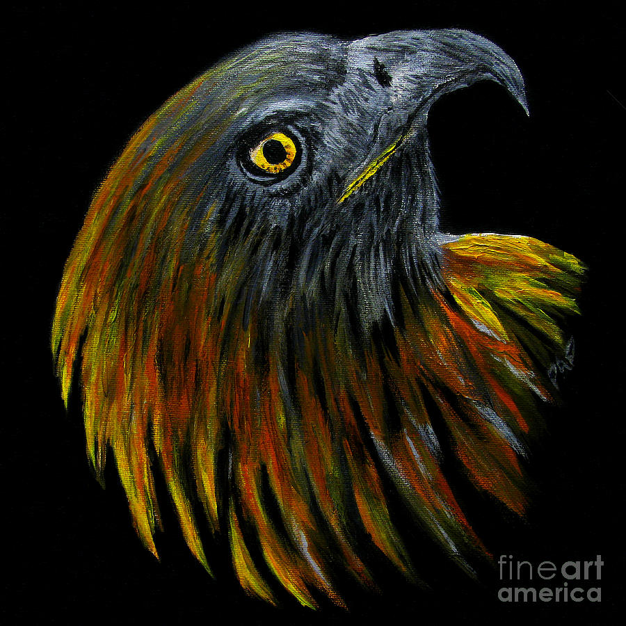 Bird Of Pray Painting - Crowhawk Original by Peter Piatt