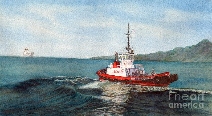 Boats Painting - Crowley Tug by Sandy Linden