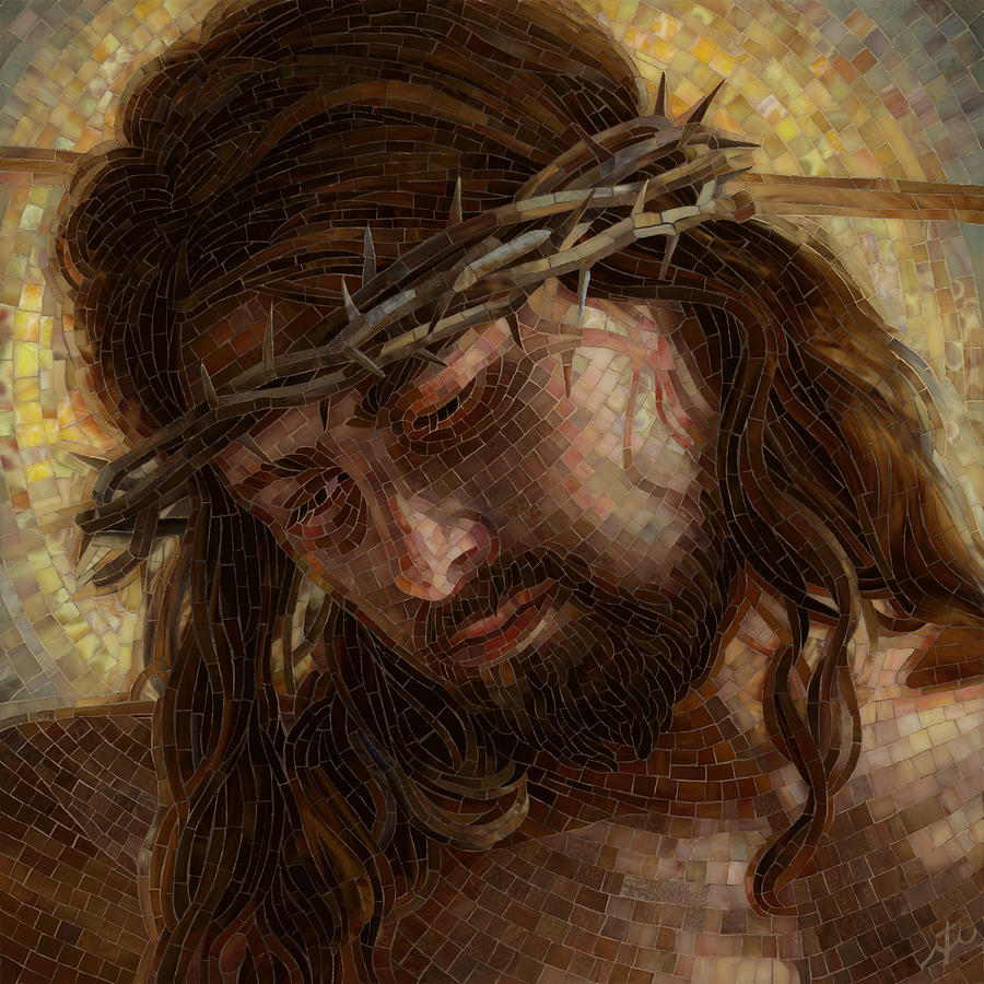 God Painting - Crown Of Thorns Glass Mosaic by Mia Tavonatti