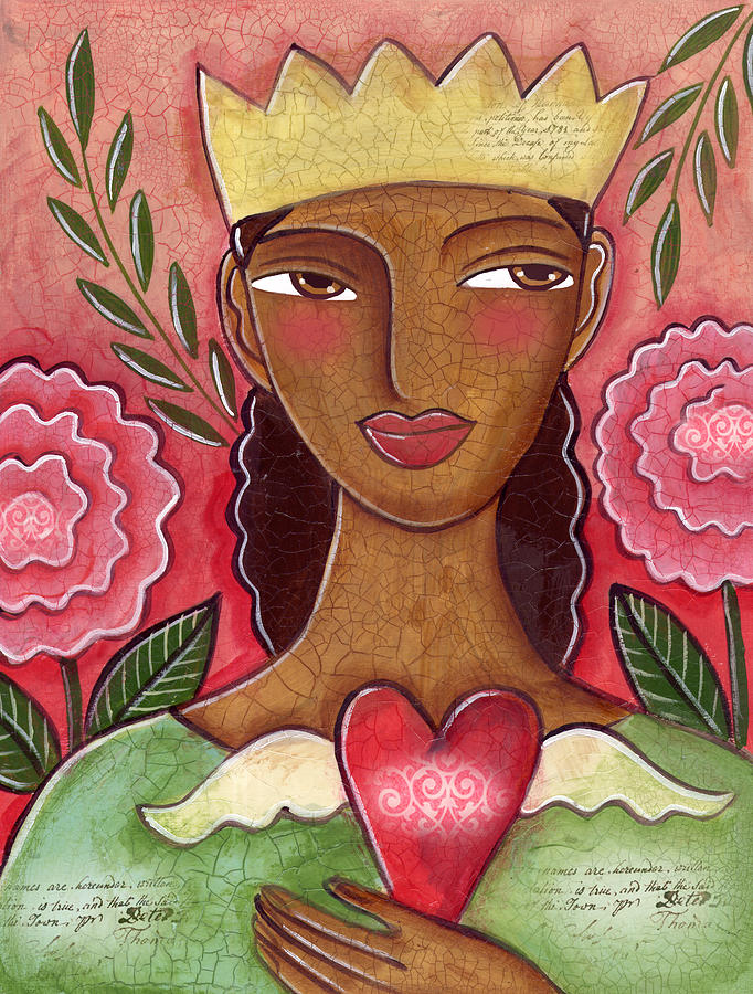 Heart Painting - Crowned Heart by Elaine Jackson