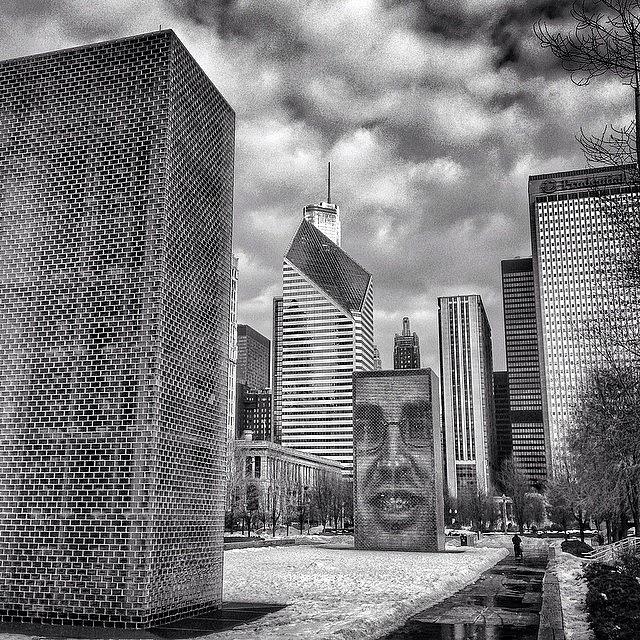 America Photograph - Chicago Crown Fountain Black and White Photo by Paul Velgos