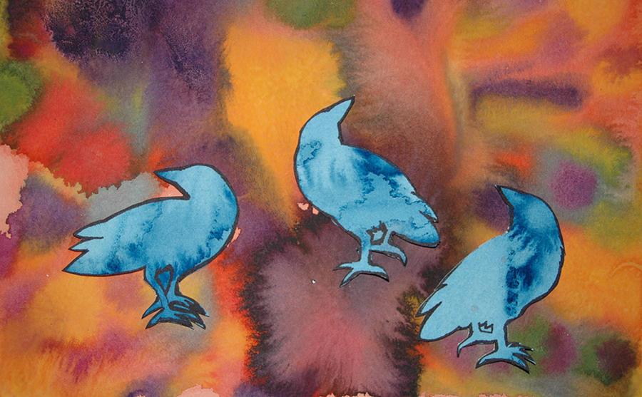 Crow Painting - Crow Series 1 by Helen Klebesadel
