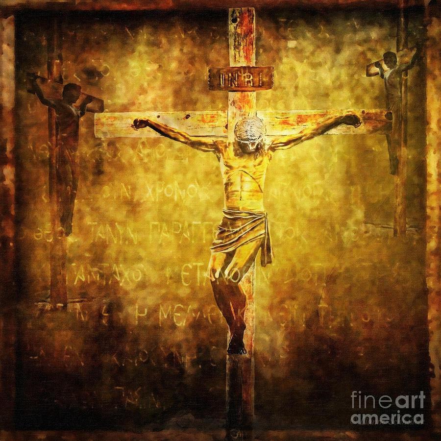 Jesus Digital Art - Crucified Via Dolorosa 12 by Lianne Schneider
