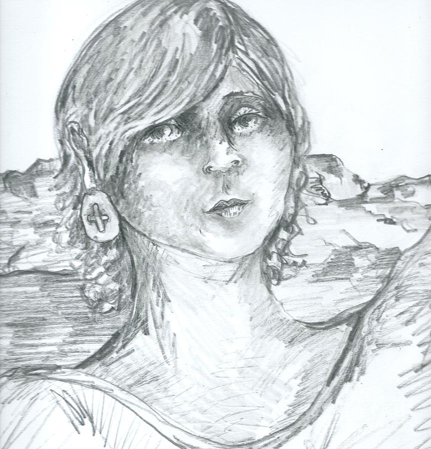 Portrait Drawing - Crucifix Ear Ring by Joseph Wetzel