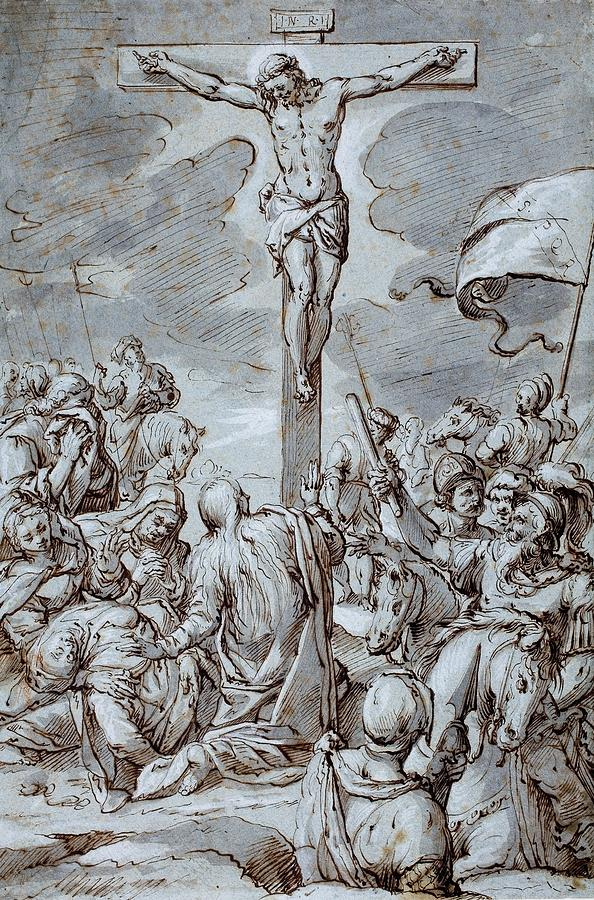 Crucifixion Drawing - Crucifixion by Johann or Hans von Aachen