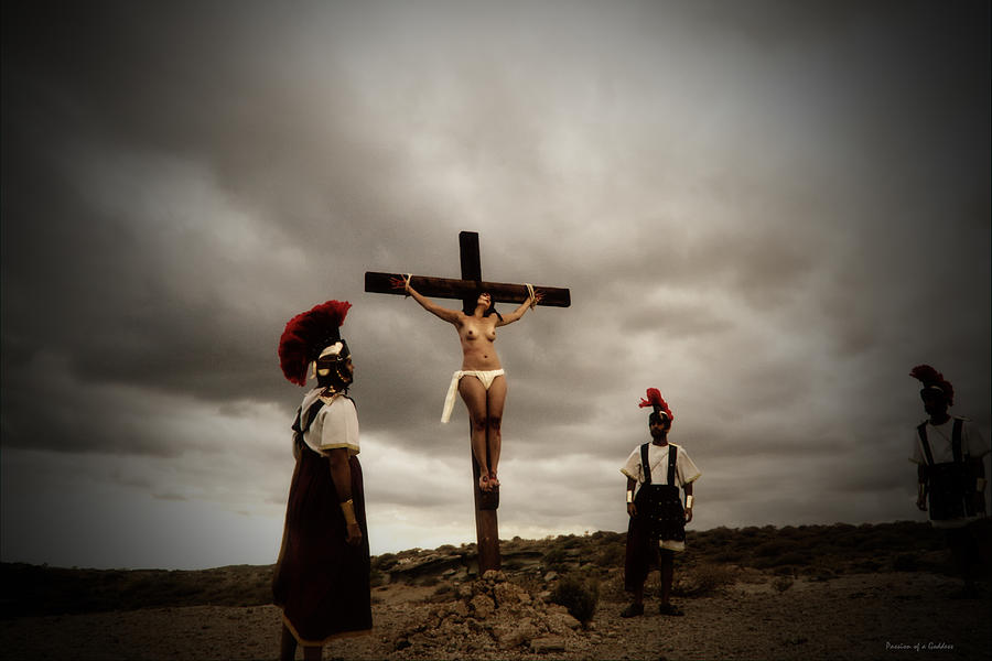 girl in crucified style