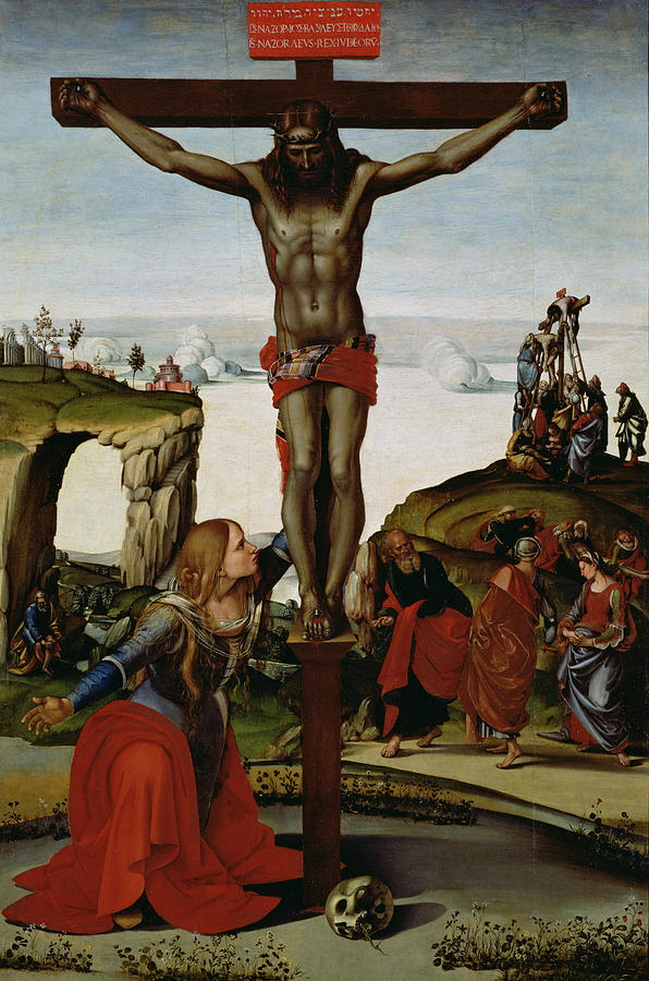 Renaissance Painting - Crucifixion With Mary Magdalene by Luca Signorelli