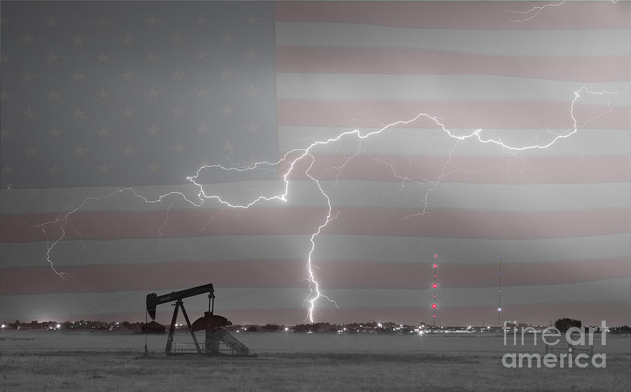 Lightning Photograph - Crude Oil And Natural Gas Striking Across America Bwsc by James BO  Insogna