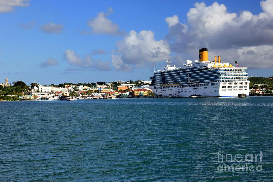 Antigua Photograph - Cruise Ship in Antigua by Sophie Vigneault
