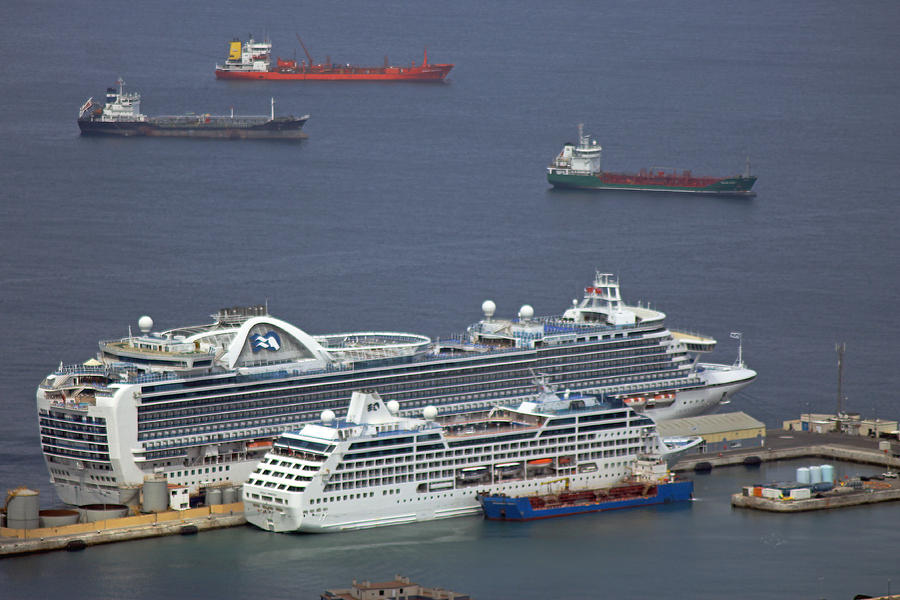Cruise Ships At Gibraltar Photograph By Tony Murtagh