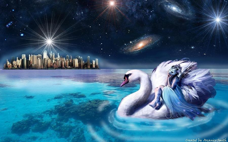 Swan Digital Art - Cruise Through The Worlds Of The Universe by Arcanico Luca Smith Acquaviva