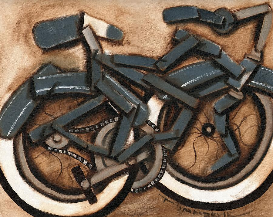 Bike Painting -  Abstract Blue Cruiser Bicycle Art print by Tommervik