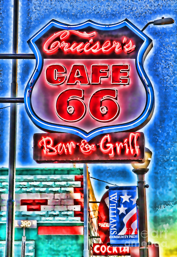Cruiser's Cafe 66 By Diana Sainz by Diana Raquel Sainz