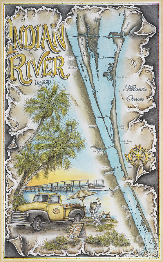 Indian River Drawing - Cruising The Indian River by Mike Williams