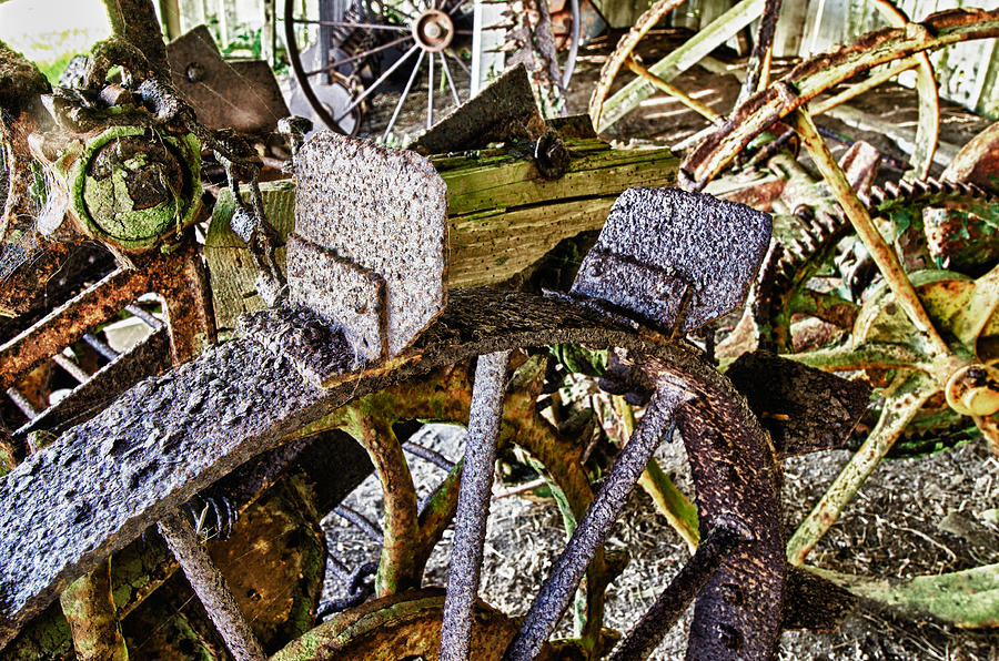 Pierce Point Ranch Photograph - Crusty Rusty Tractor Wheels by Robert Rus