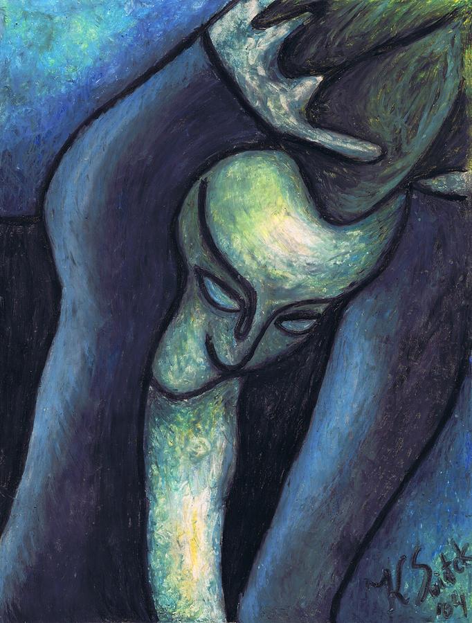 Blue Painting - Crying Woman by Kamil Swiatek
